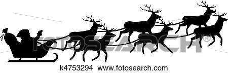 Clipart Weihnachtsmann Auf Schlitten K4753294 Suche Clip Art