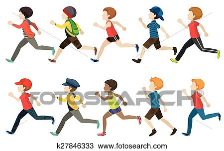 clipart of a group of kids running k27846333 search clip art rh fotosearch com Cross Country Running Clip Art kids running clip art black white