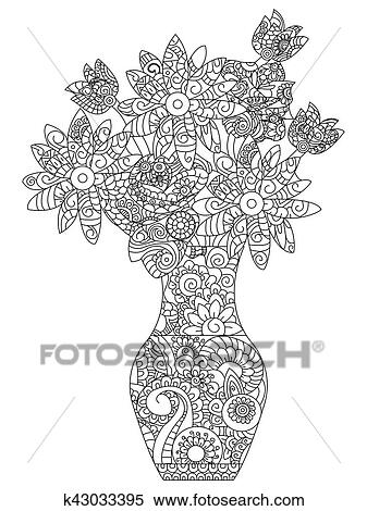 Bouquet Of Flowers Coloring Book For Adults Vector Illustration Flower Anti Stress Adult Daisy Zentangle Style Lily