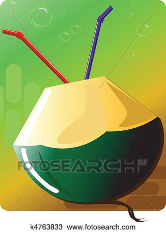 Drawing Of Coconut Drink K4763833