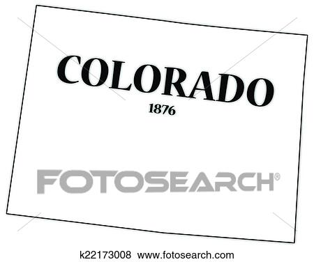 Attractive A Colorado State Outline With The Date Of Statehood Isolated On A White  Background