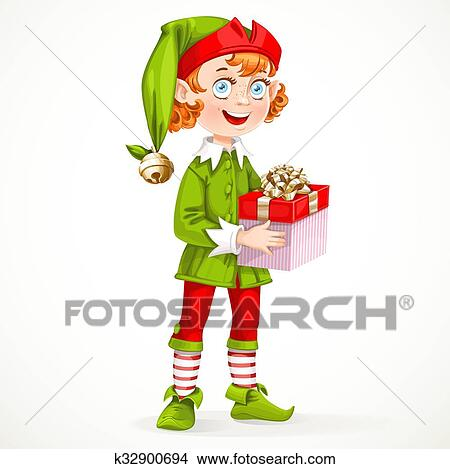 Clipart of Cute New Year\'s elf Santa\'s assistant hold a gift ...