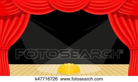 Clipart dessin anim theater th tre rideau rayons - Dessin de theatre ...