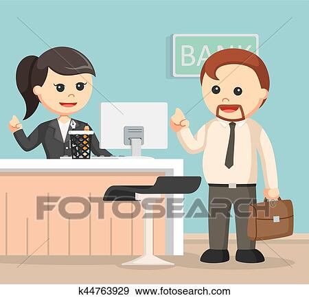 Clip Art of female bank teller serve business man