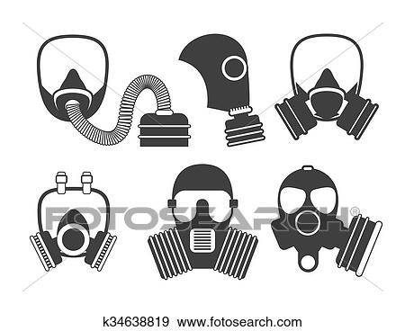 clip art of gas mask vector set gas mask for firefighters and