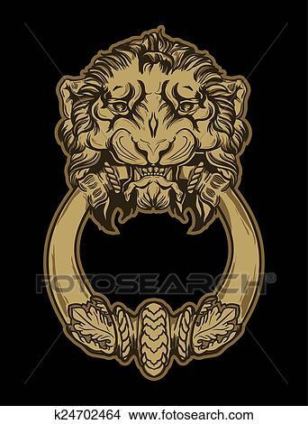 Gold Lion Head Door Knocker On Black Background Hand Drawn Vect Clipart