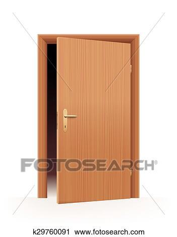 Clipart Half Open Door Fotosearch