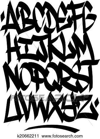 Alfabet Graffiti clipart of hand written graffiti font alphabet. vector k20662211
