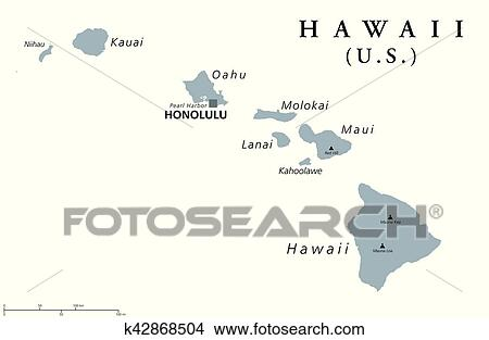 Clipart Of Hawaii Political Map K42868504 Search Clip Art