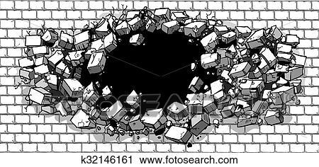 Hole Breaking Through Brick Wall Clipart K32146161