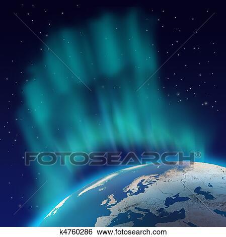 Huge Northern Lights Aurora Borealis Over Planet Earth Hemisphere