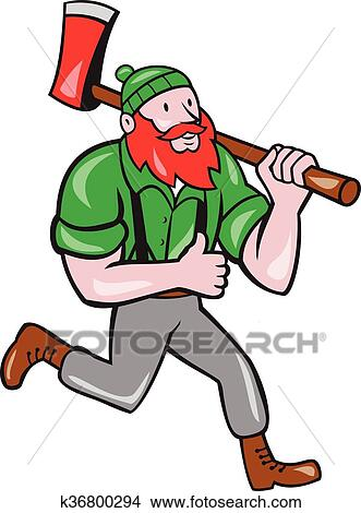 clipart of paul bunyan lumberjack axe running cartoon k36800294 rh fotosearch com lumberjack beard clipart lumberjack clip art pictures