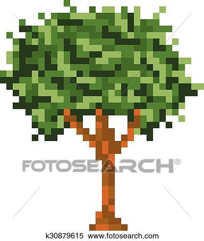 Pixel Art Arbre Isolé Vecteur Icône Clipart