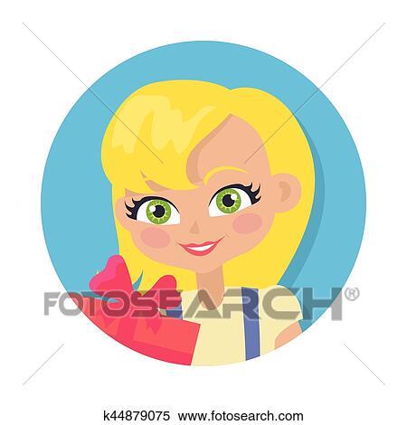 lotta selezione premium stili classici Ragazza, con, capelli giusti, e, giftbox., cartone animato, stile ...