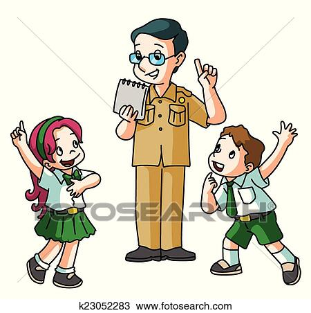 clipart of students asking teacher k23052283 search clip art rh fotosearch com teacher with students clipart teacher teaching students clipart black and white
