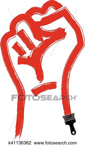 Vector Brushed Illustration Of Clenched Fist Held In Protest Hand