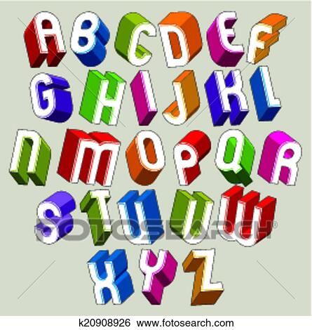 3d, font, vettore, colorito, lettere, geometrico, dimensionale, alfabeto  Clip Art