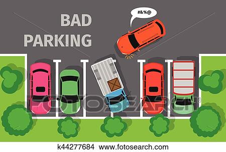 clipart of bad parking car parked in inappropriate way k44277684 rh fotosearch com car parking clip art parking lot clip art