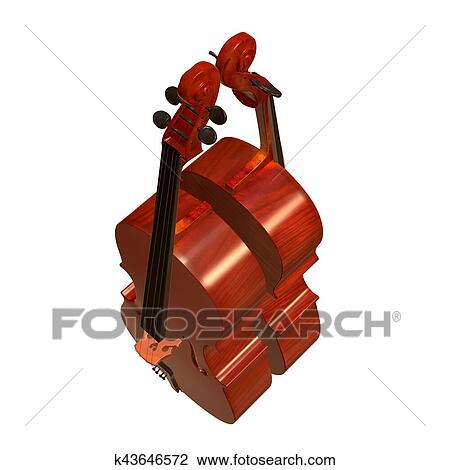 Cello Instrumento Musical 3d Ilustracao Desenho