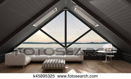 Classic Mezzanine Loft With Big Window And Sea Panorama Living Room Summer Sunset Or Sunrise Minimalist Scandinavian Interior Design Stock Image Impressive Large Living Room Window Minimalist