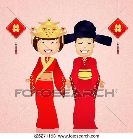 Costume traditionnel chinois mariage dessin k26271153 - Dessin costume ...