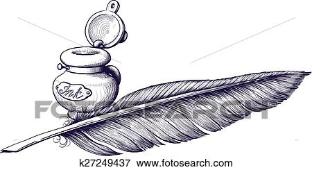Inkwell and quill pen Clip Art | k27249437 | Fotosearch