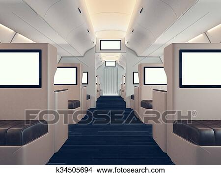 dessins photo de luxe avion int rieur premier class vide num rique panneaux holding. Black Bedroom Furniture Sets. Home Design Ideas