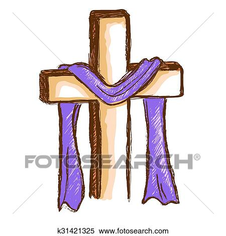 Clipart Of Wood Cross With Purple Cloth K31421325