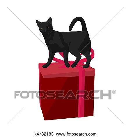 クリスマス ネコ イラスト スケッチ K4782183 Fotosearch