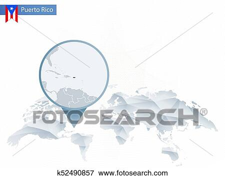 Abstract rounded World Map with pinned detailed Puerto Rico map. Clip Art