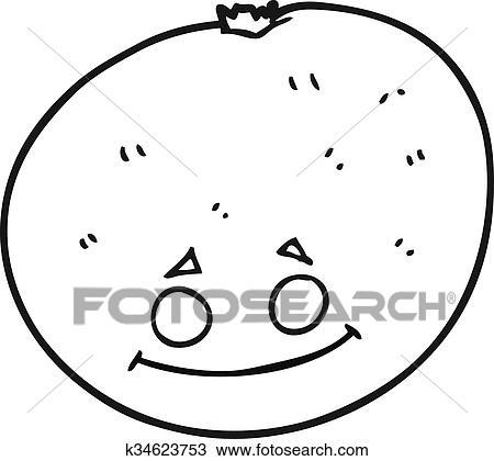 Black And White Cartoon Orange Clipart K34623753