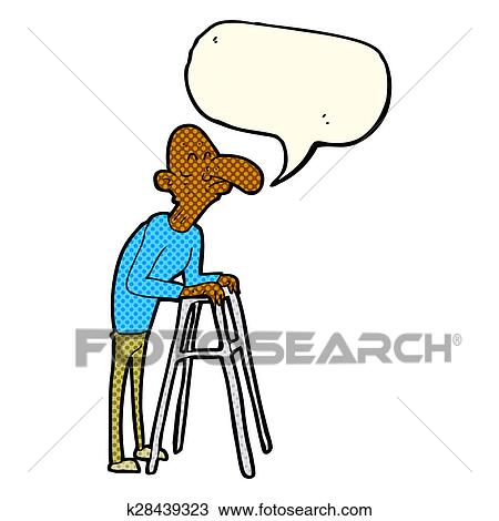 Drawing of cartoon old man with walking frame with speech bubble ...