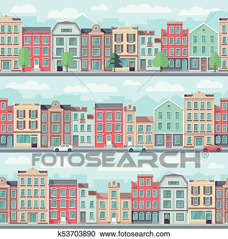 Clipart Of Cartoon Seamless Street With Old Apartment Buildings