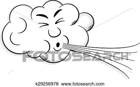 Clipart dessin anim nuage coups vent k29256978 - Nuage et vent ...
