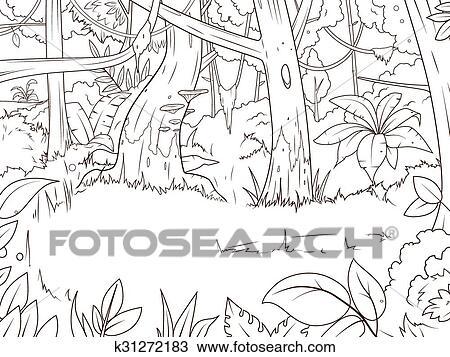 Dschungel, Wald, Karikatur, Ausmalbilder, Vektor Clipart