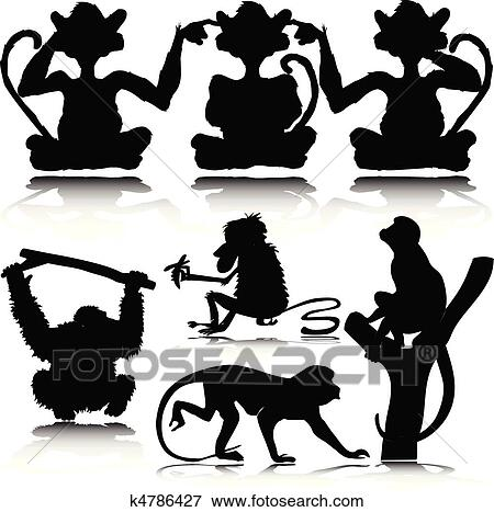 Clip Art Of Funny Monkey Vector Silhouettes K4786427