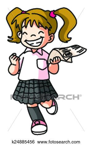 clip art of happy student girl k24885456 search clipart rh fotosearch com happy classroom clipart happy student clipart