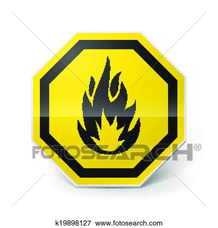 Clip Art Of Highly Flammable Sign K19898127 Search Clipart