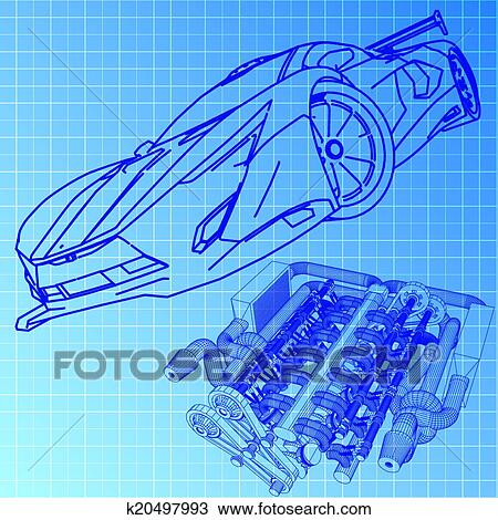Clipart - sportwagen, skizze, blaupause k20497993 - Suche Clip Art ...