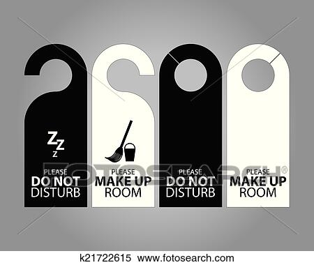 Clipart Of Two Side Black And White Door Hanger Tags For Room In