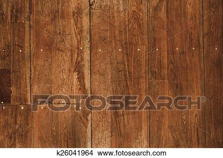 Wood Floor With Nails Stock