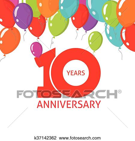 Anniversary 10th Balloons Poster 10 Years Banner Design Clipart