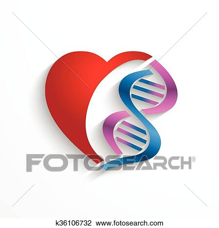 Clipart Of Dna Conceptheart With Double Helix Symbols For Medicine