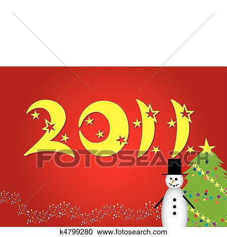 Clipart Of Funny Cartoon Christmas Card With Snowman And Snow Tree