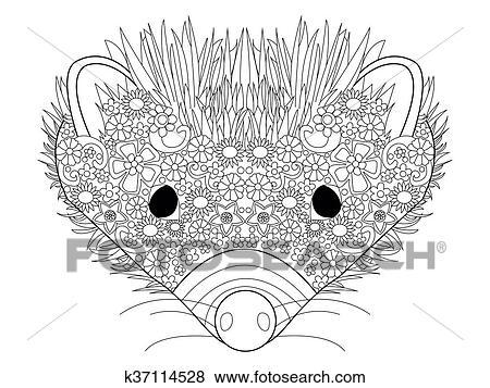 Clip Art - igel, kopf, färbung, vektor, für, erwachsene k37114528 ...