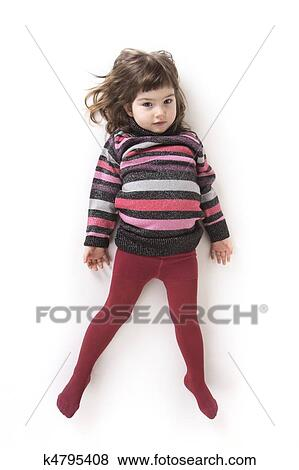 Bilder - kleines mädchen, in, rot, wollstrumpfhose, und, a, hell ...