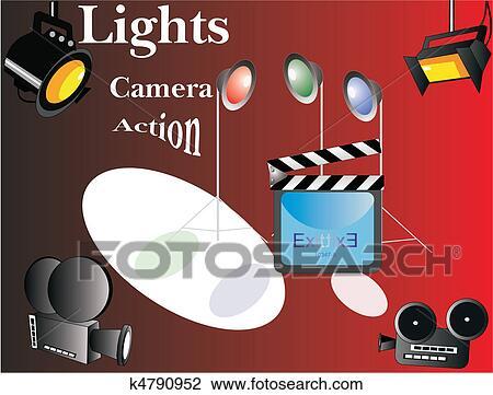 Clipart Of Lights Camera Action K4790952