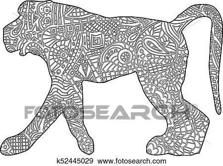 Clip Art of Monkey coloring book illustration k52445029 - Search ...