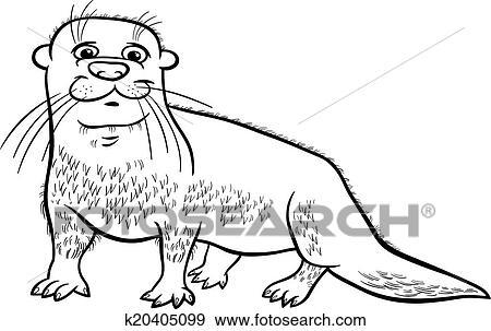 Clip Art - nutria, animal, caricatura, colorido, página k20405099 ...