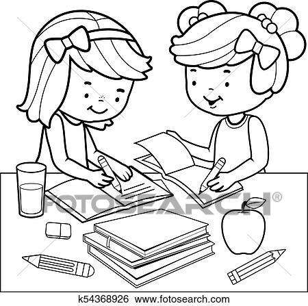 Clip Art Studenten Machen Homework Schwarz Weiss Ausmalbilder